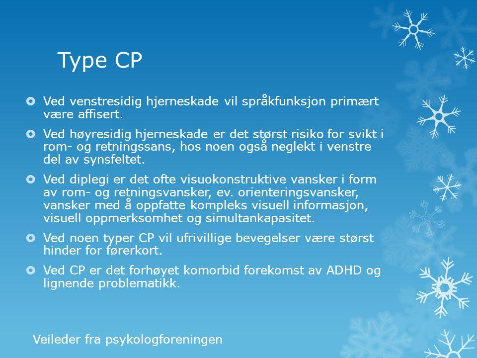 Type CP Ved venstresidig hjerneskade vil språkfunksjon primært være affisert.