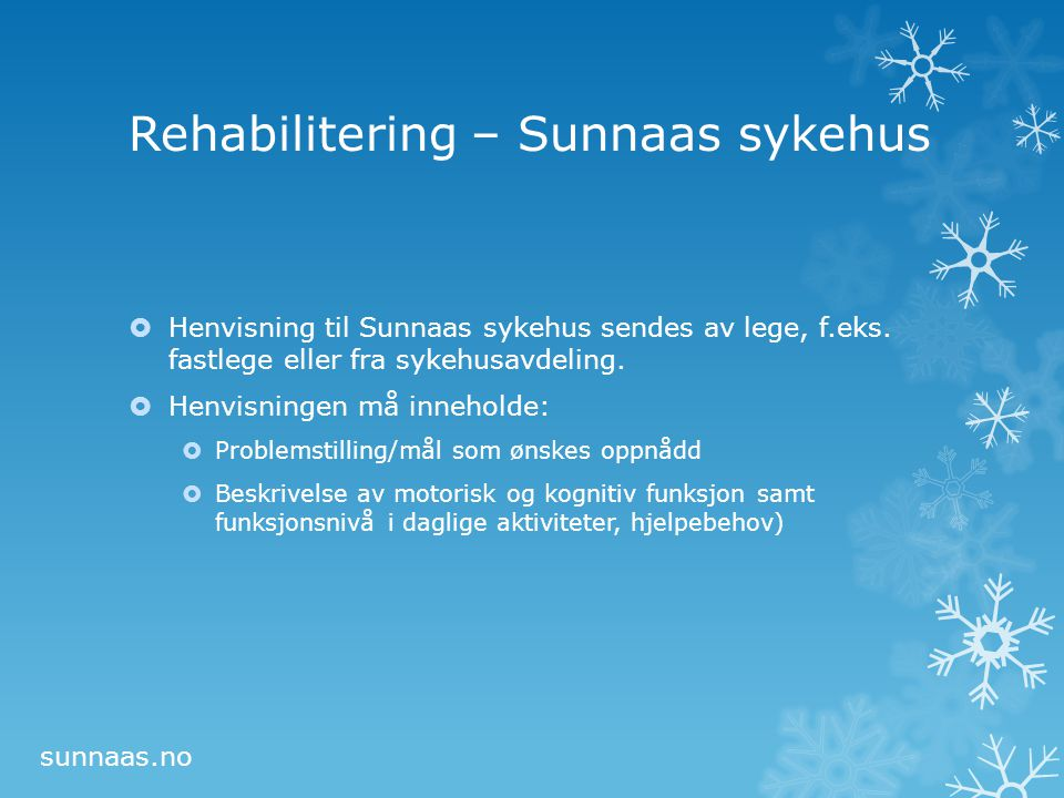 Rehabilitering – Sunnaas sykehus