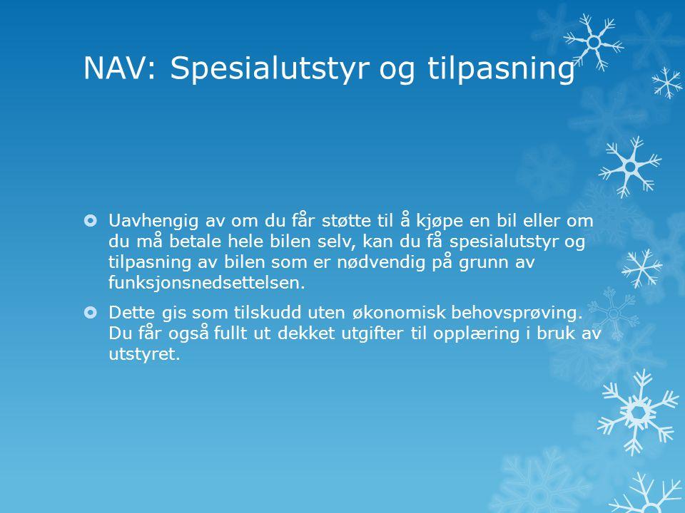 NAV: Spesialutstyr og tilpasning