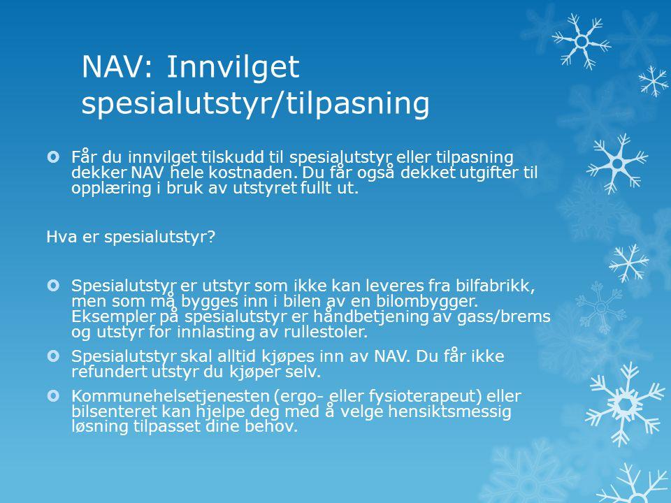 NAV: Innvilget spesialutstyr/tilpasning