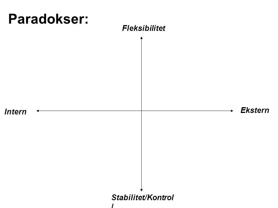 Paradokser: Fleksibilitet Intern Ekstern Stabilitet/Kontroll