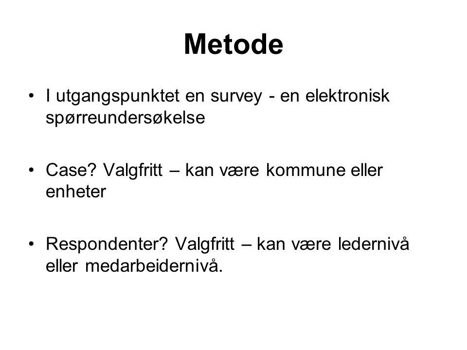 Metode I utgangspunktet en survey - en elektronisk spørreundersøkelse