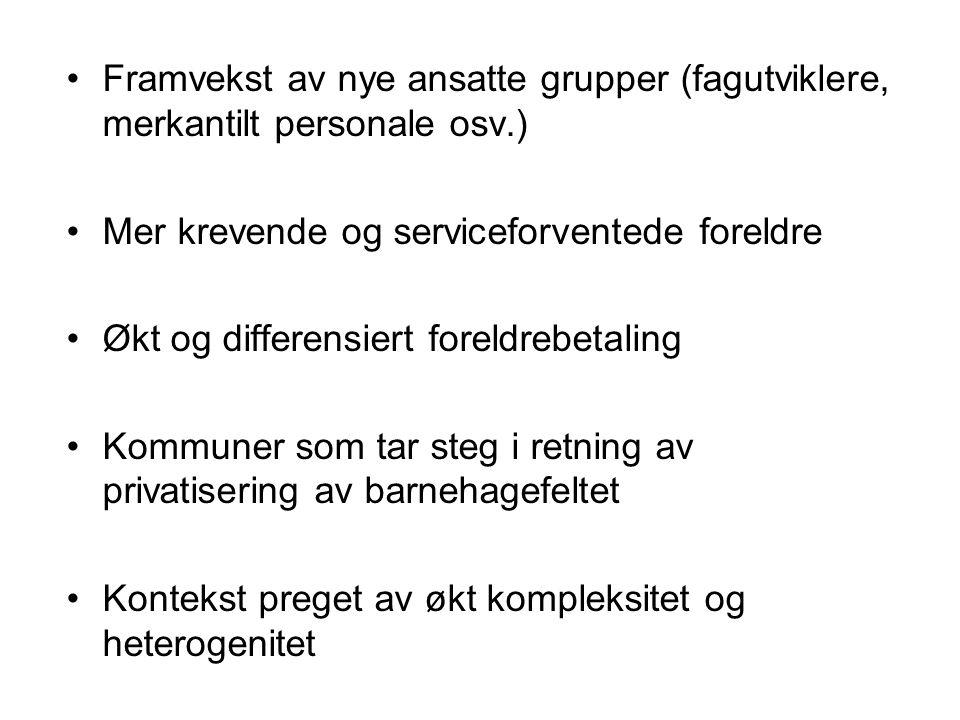 Framvekst av nye ansatte grupper (fagutviklere, merkantilt personale osv.)