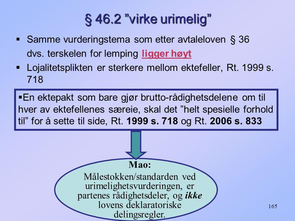 § 46.2 virke urimelig Samme vurderingstema som etter avtaleloven § 36. dvs. terskelen for lemping ligger høyt.