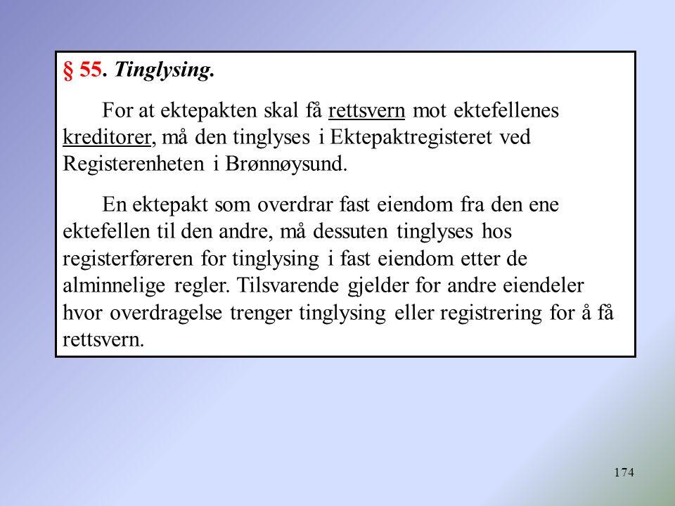 § 55. Tinglysing.