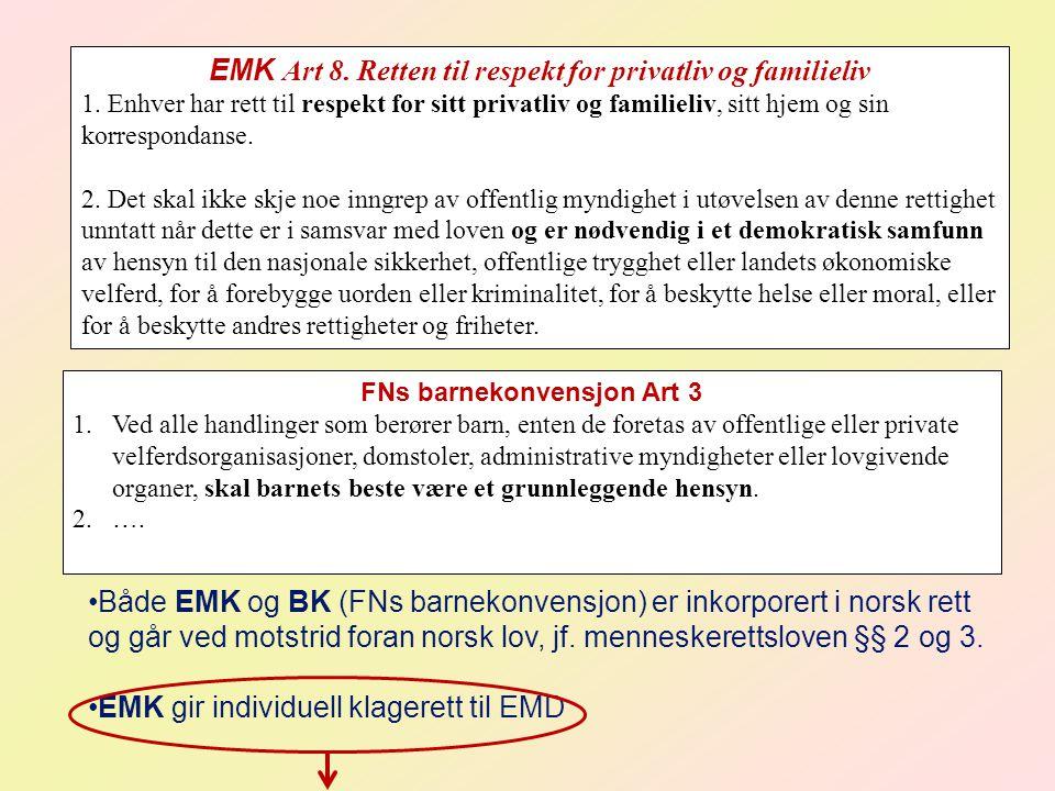 EMK Art 8. Retten til respekt for privatliv og familieliv