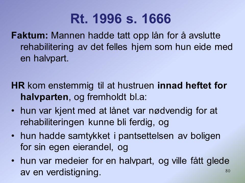 Rt. 1996 s. 1666 Faktum: Mannen hadde tatt opp lån for å avslutte rehabilitering av det felles hjem som hun eide med en halvpart.