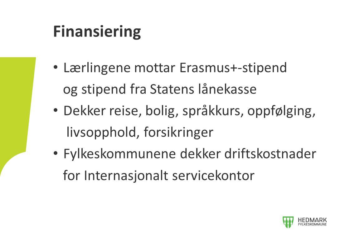 Finansiering Lærlingene mottar Erasmus+-stipend