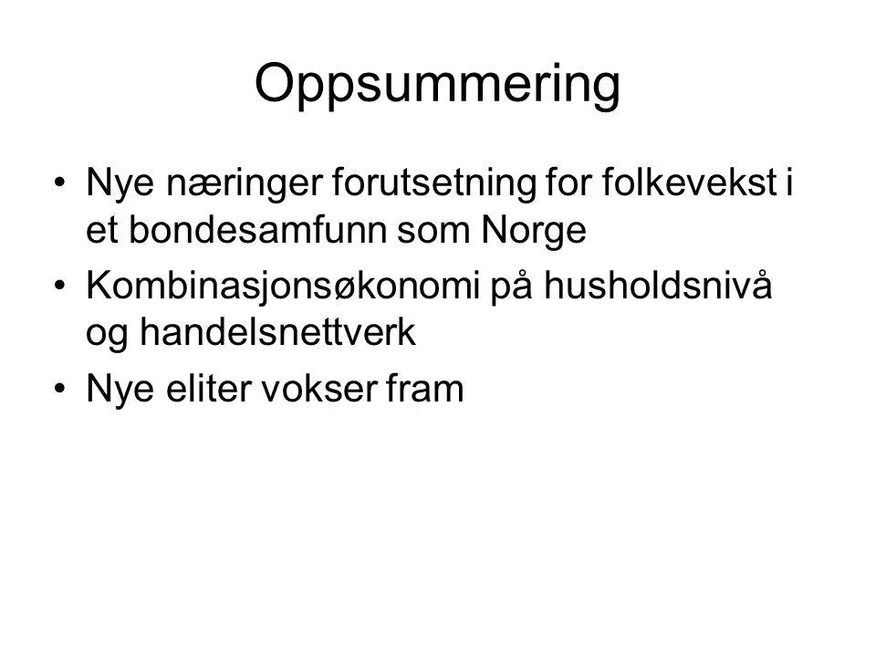Oppsummering Nye næringer forutsetning for folkevekst i et bondesamfunn som Norge. Kombinasjonsøkonomi på husholdsnivå og handelsnettverk.