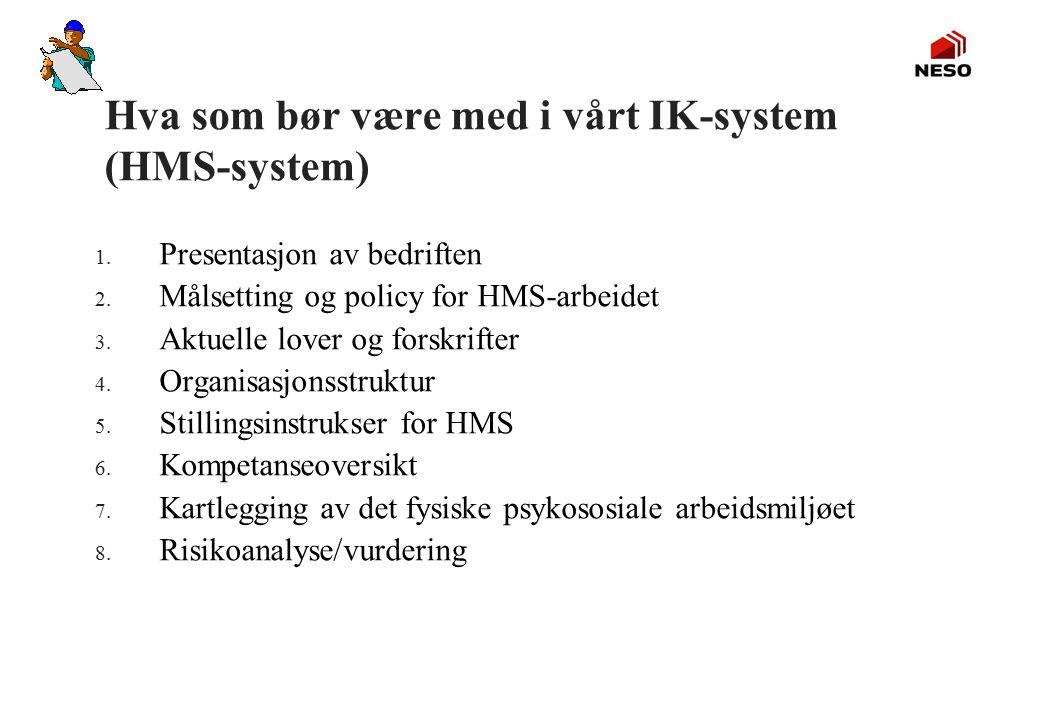 Hva som bør være med i vårt IK-system (HMS-system)