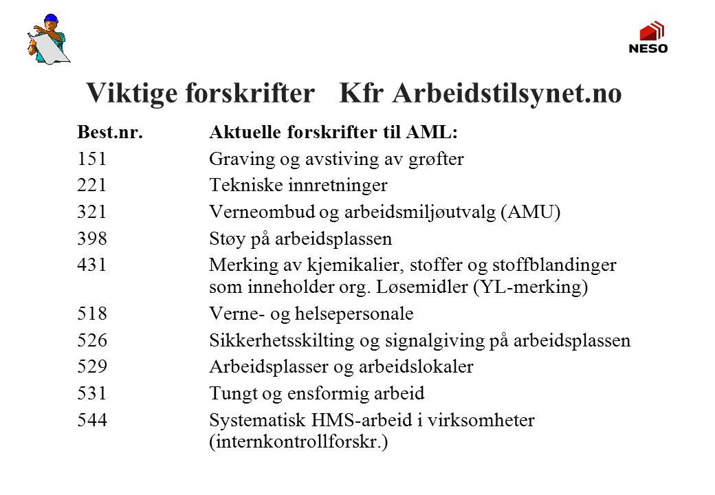 Viktige forskrifter Kfr Arbeidstilsynet.no