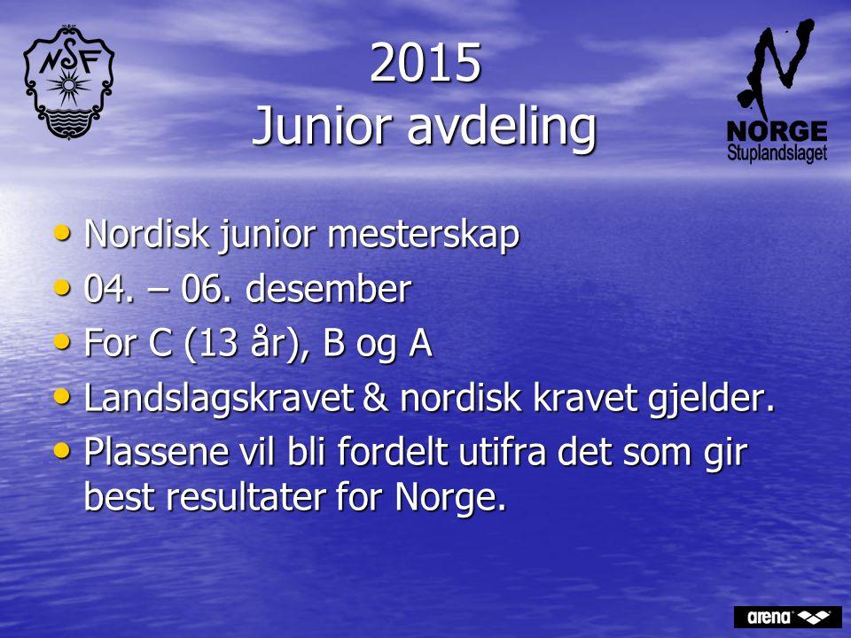 2015 Junior avdeling Nordisk junior mesterskap 04. – 06. desember