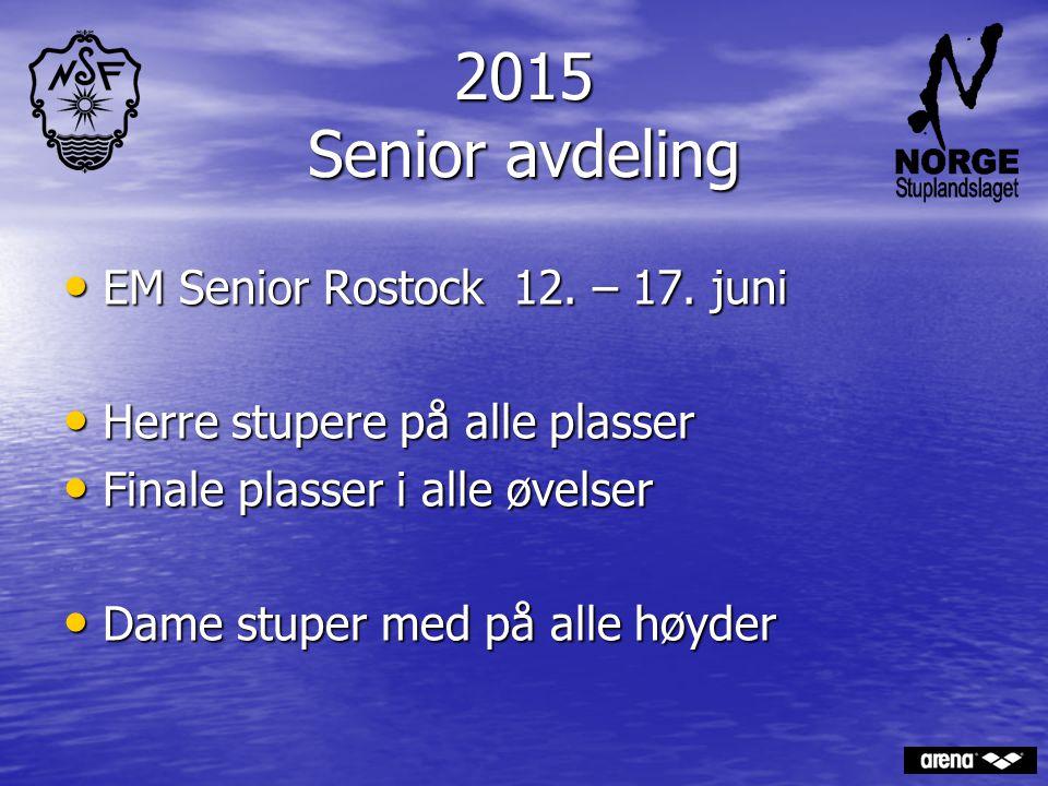 2015 Senior avdeling EM Senior Rostock 12. – 17. juni