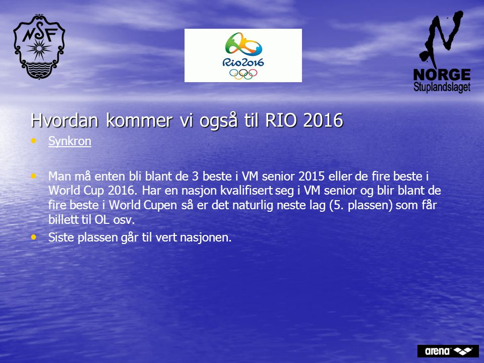 . Hvordan kommer vi også til RIO 2016 Synkron