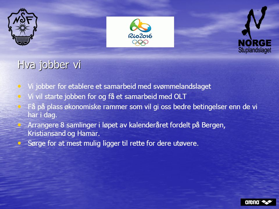 . Hva jobber vi. Vi jobber for etablere et samarbeid med svømmelandslaget. Vi vil starte jobben for og få et samarbeid med OLT.