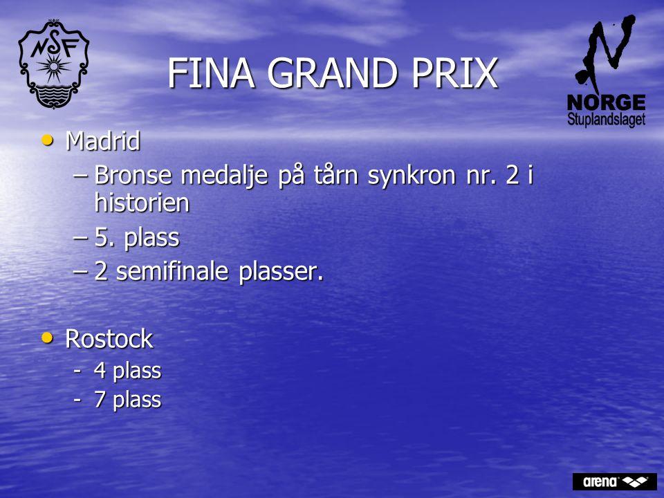 FINA GRAND PRIX Madrid. Bronse medalje på tårn synkron nr. 2 i historien. 5. plass. 2 semifinale plasser.