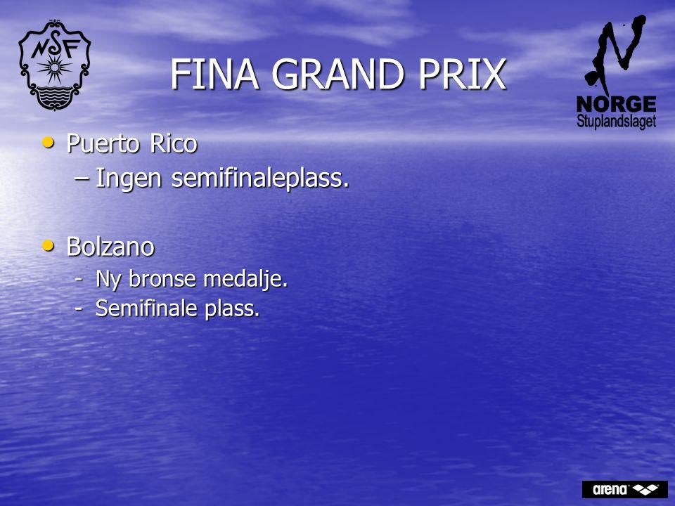 FINA GRAND PRIX Puerto Rico Ingen semifinaleplass. Bolzano
