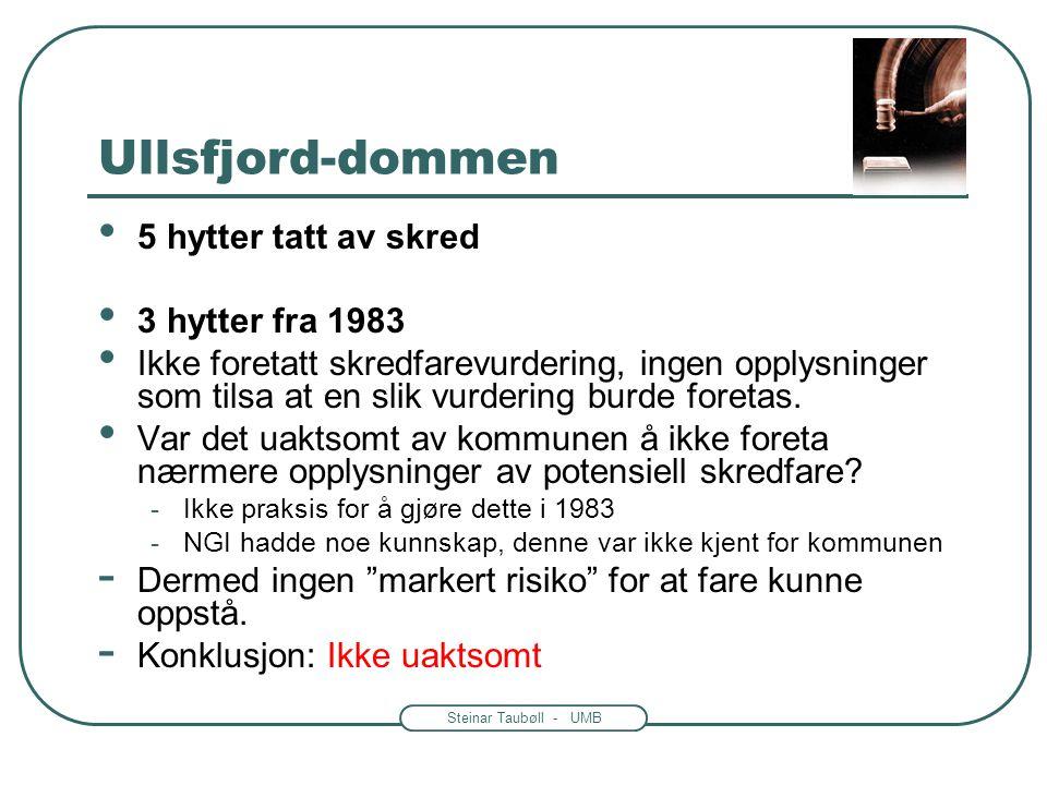 Ullsfjord-dommen 5 hytter tatt av skred 3 hytter fra 1983