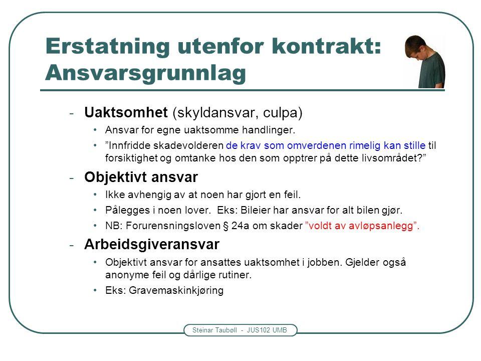 Erstatning utenfor kontrakt: Ansvarsgrunnlag