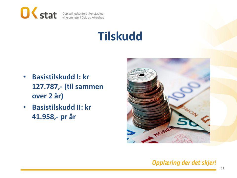 Tilskudd Basistilskudd I: kr 127.787,- (til sammen over 2 år)