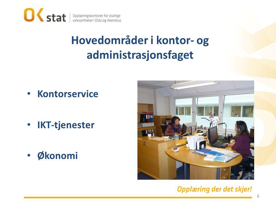 Hovedområder i kontor- og administrasjonsfaget