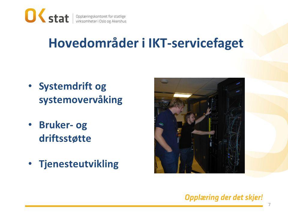 Hovedområder i IKT-servicefaget