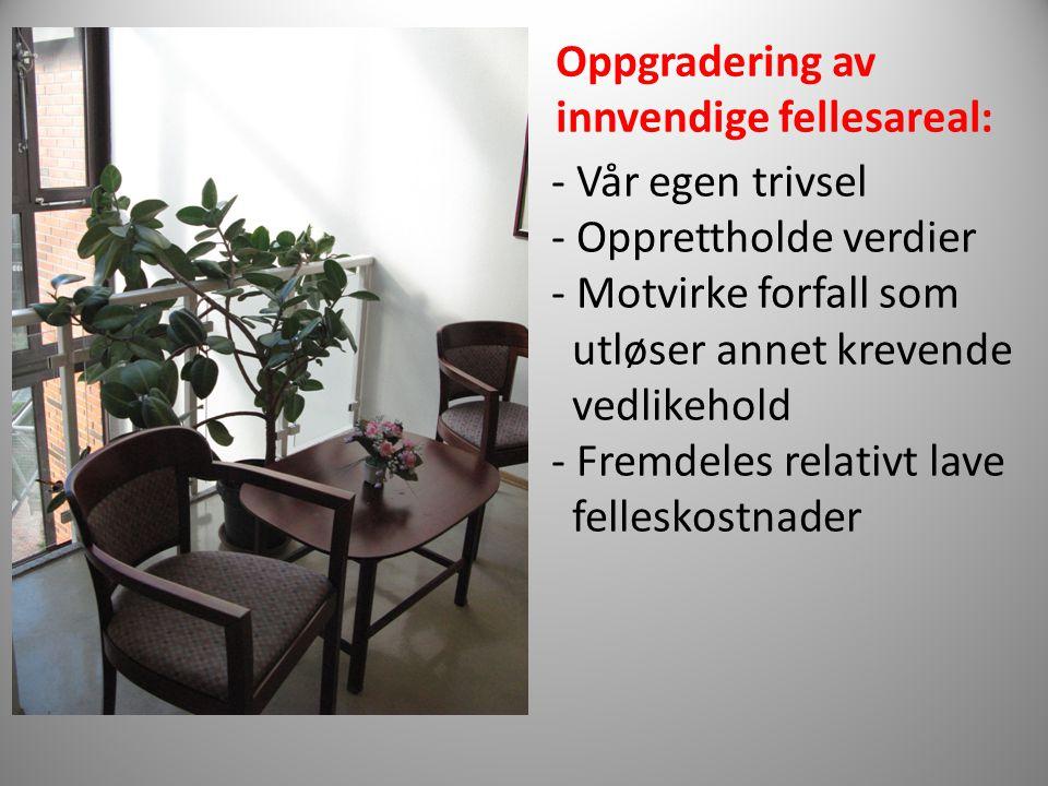 Oppgradering av innvendige fellesareal: - Vår egen trivsel. - Opprettholde verdier. - Motvirke forfall som.