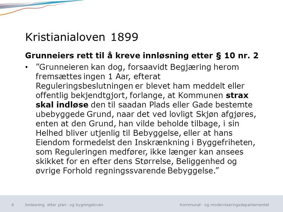 Kristianialoven 1899 Grunneiers rett til å kreve innløsning etter § 10 nr. 2.
