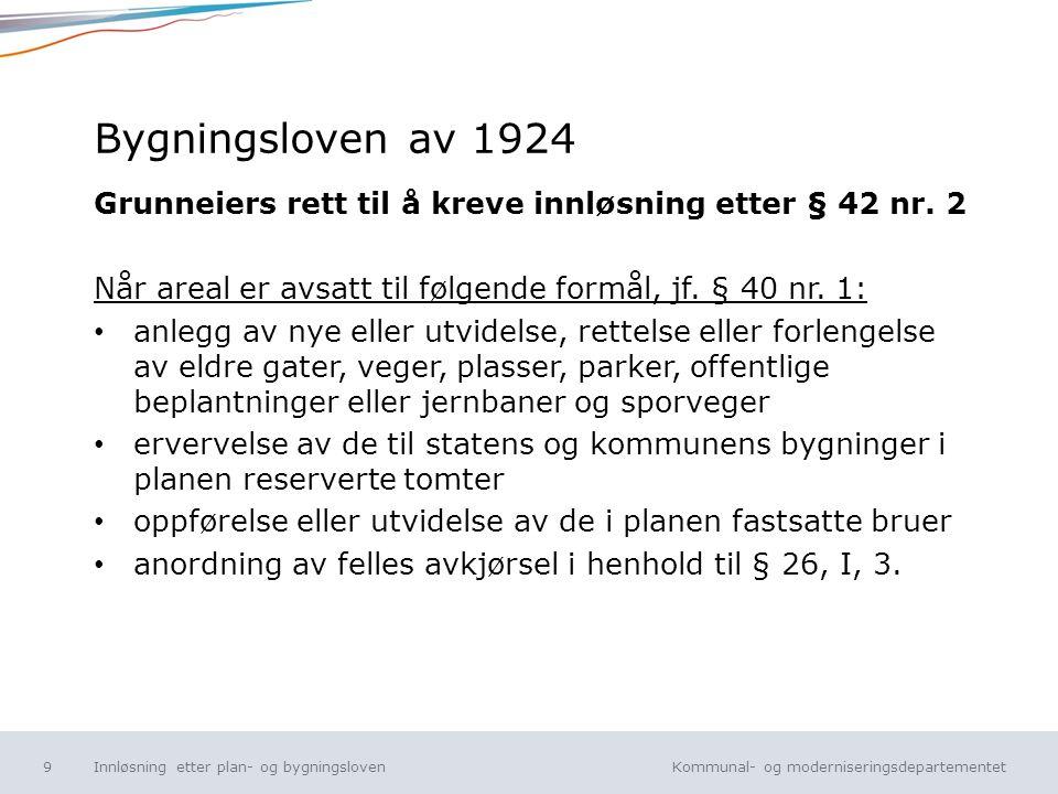 Bygningsloven av 1924 Grunneiers rett til å kreve innløsning etter § 42 nr. 2. Når areal er avsatt til følgende formål, jf. § 40 nr. 1: