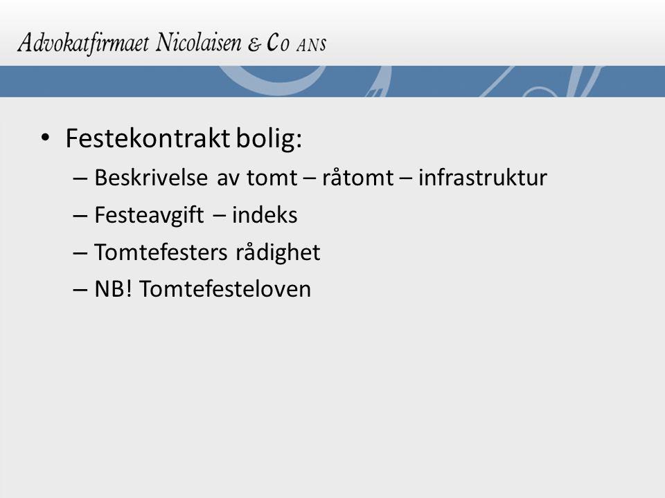 Festekontrakt bolig: Beskrivelse av tomt – råtomt – infrastruktur