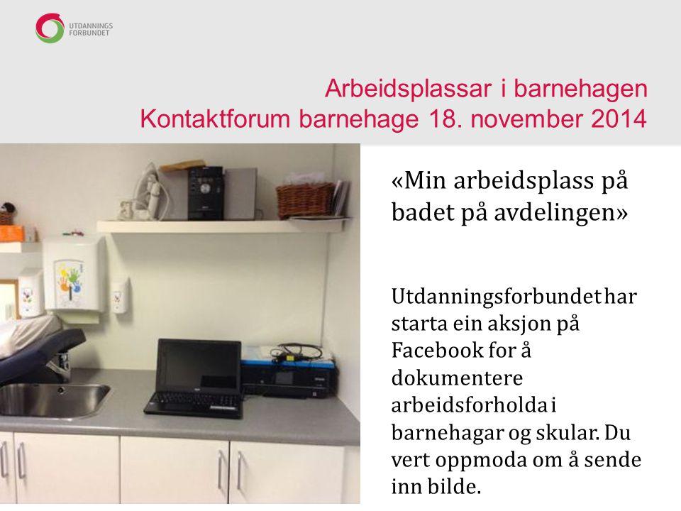 Arbeidsplassar i barnehagen Kontaktforum barnehage 18. november 2014
