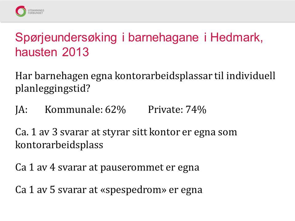 Spørjeundersøking i barnehagane i Hedmark, hausten 2013