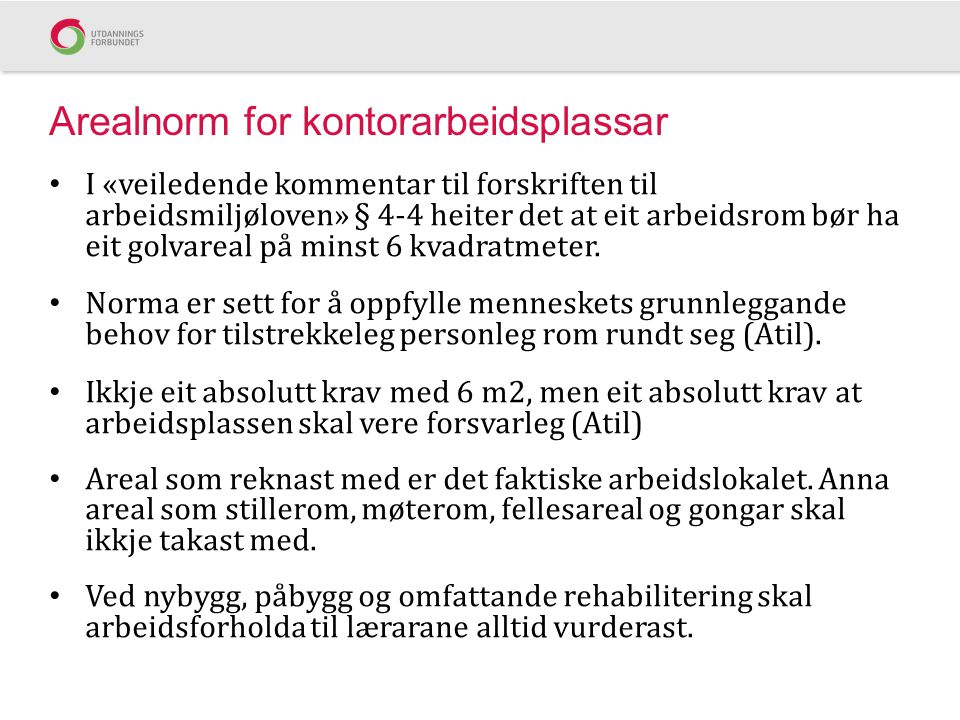 Arealnorm for kontorarbeidsplassar