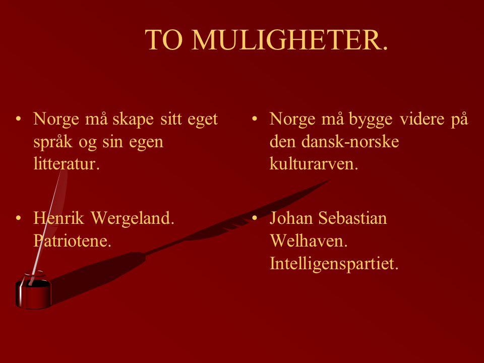 TO MULIGHETER. Norge må skape sitt eget språk og sin egen litteratur.