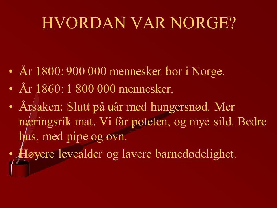 HVORDAN VAR NORGE År 1800: 900 000 mennesker bor i Norge.