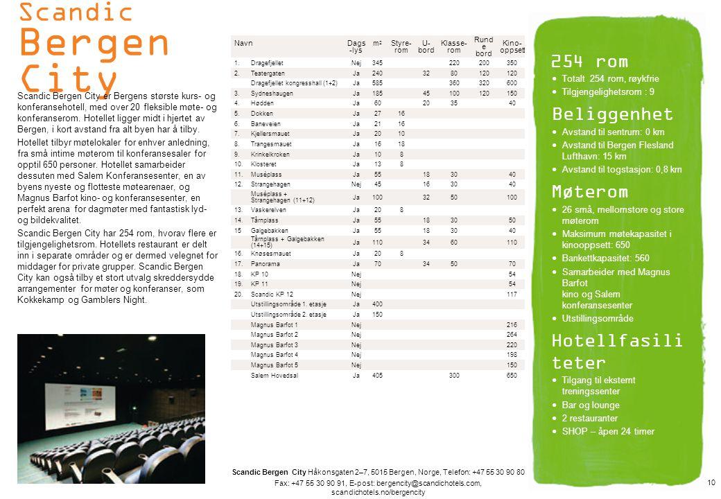 Scandic Bergen City 254 rom Beliggenhet Møterom Hotellfasiliteter
