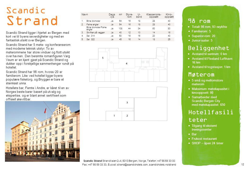 Scandic Strand 98 rom Beliggenhet Møterom Hotellfasiliteter