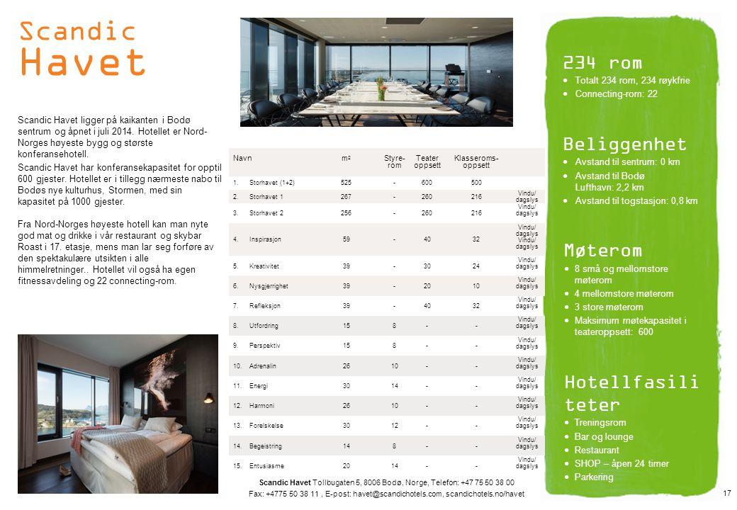 Scandic Havet 234 rom Beliggenhet Møterom Hotellfasiliteter