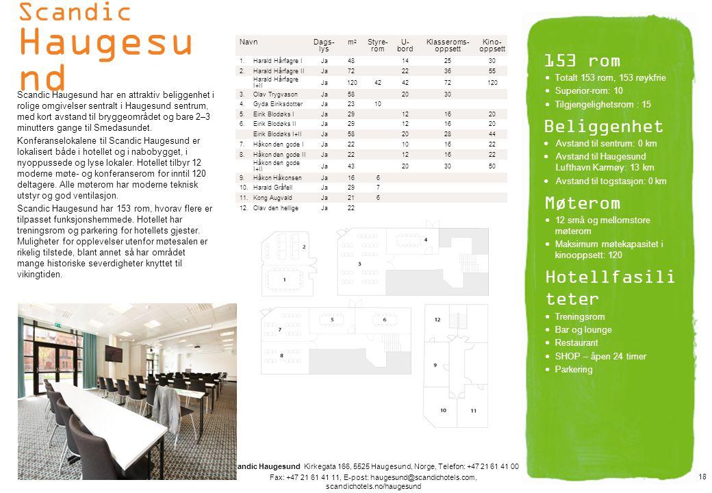 Scandic Haugesund 153 rom Beliggenhet Møterom Hotellfasiliteter