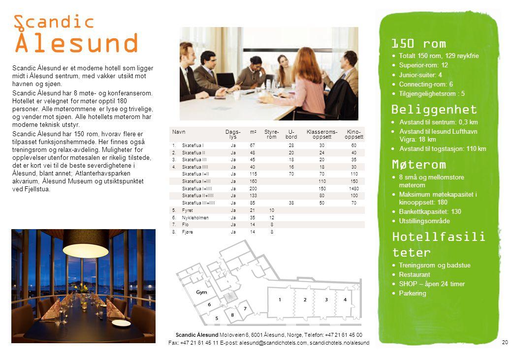 Scandic Ålesund 150 rom Beliggenhet Møterom Hotellfasiliteter