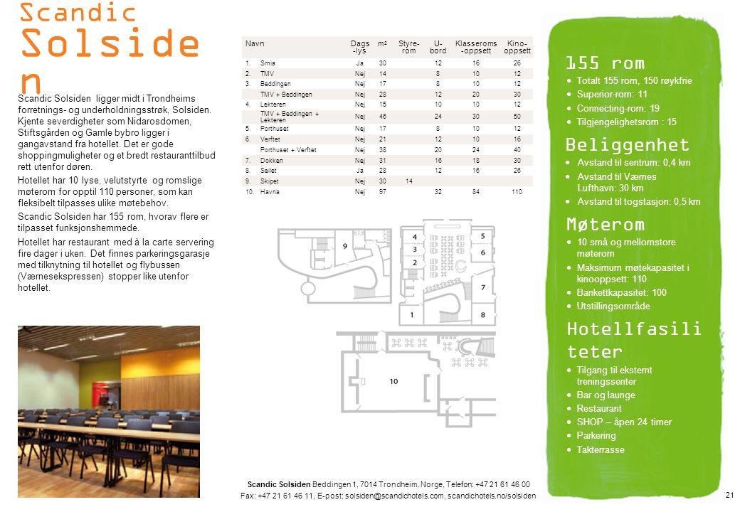 Scandic Solsiden 155 rom Beliggenhet Møterom Hotellfasiliteter