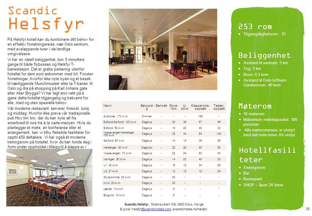 Scandic Helsfyr 253 rom Beliggenhet Møterom Hotellfasiliteter