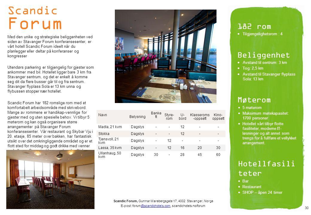 Scandic Forum 182 rom Beliggenhet Møterom Hotellfasiliteter