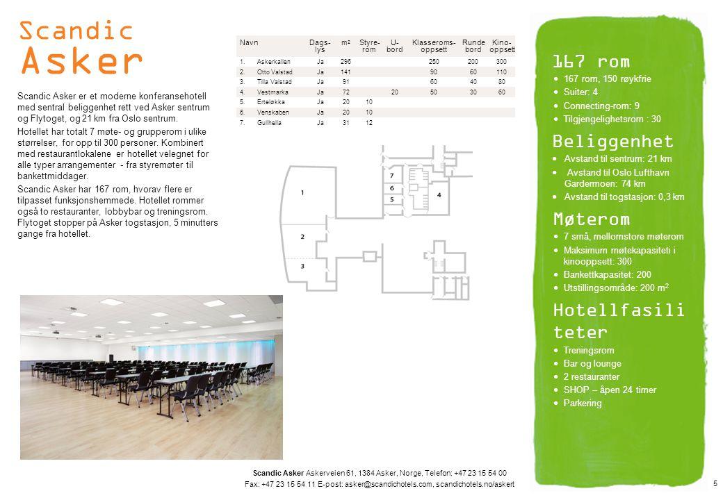 Scandic Asker 167 rom Beliggenhet Møterom Hotellfasiliteter