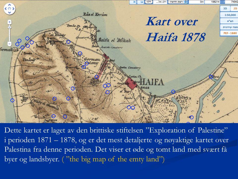 Kart over Haifa 1878. Dette kartet er laget av den brittiske stiftelsen Exploration of Palestine