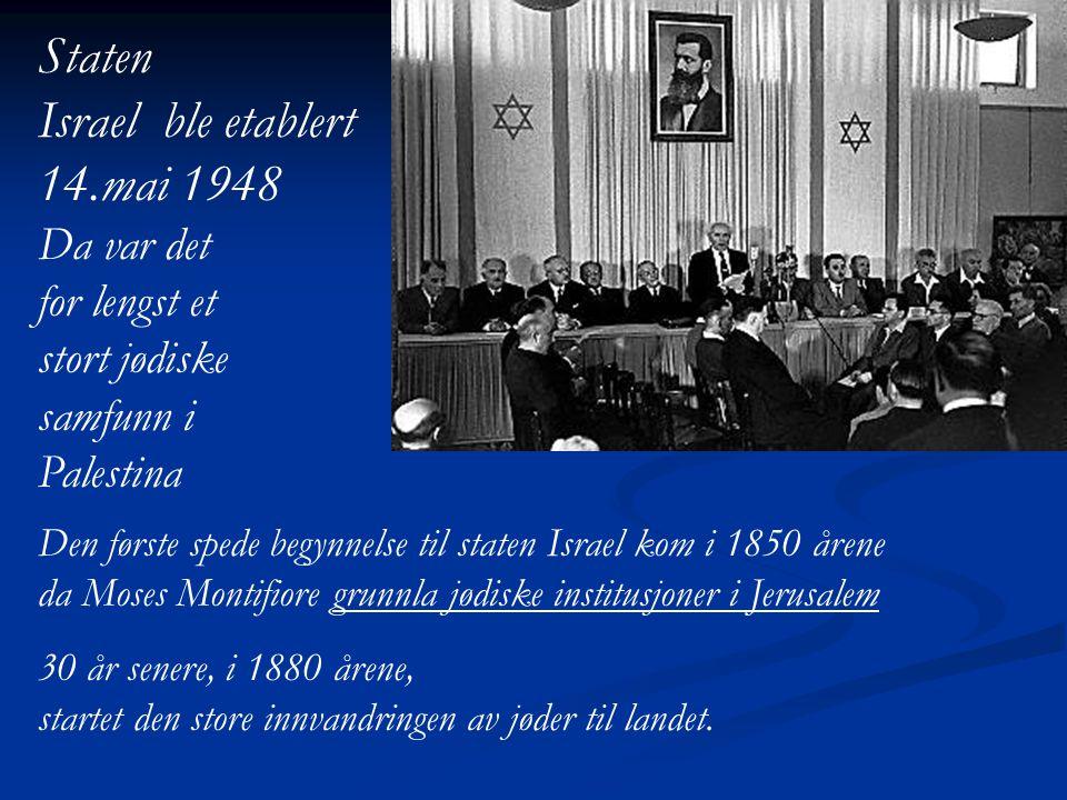 Staten Israel ble etablert 14.mai 1948 Da var det for lengst et
