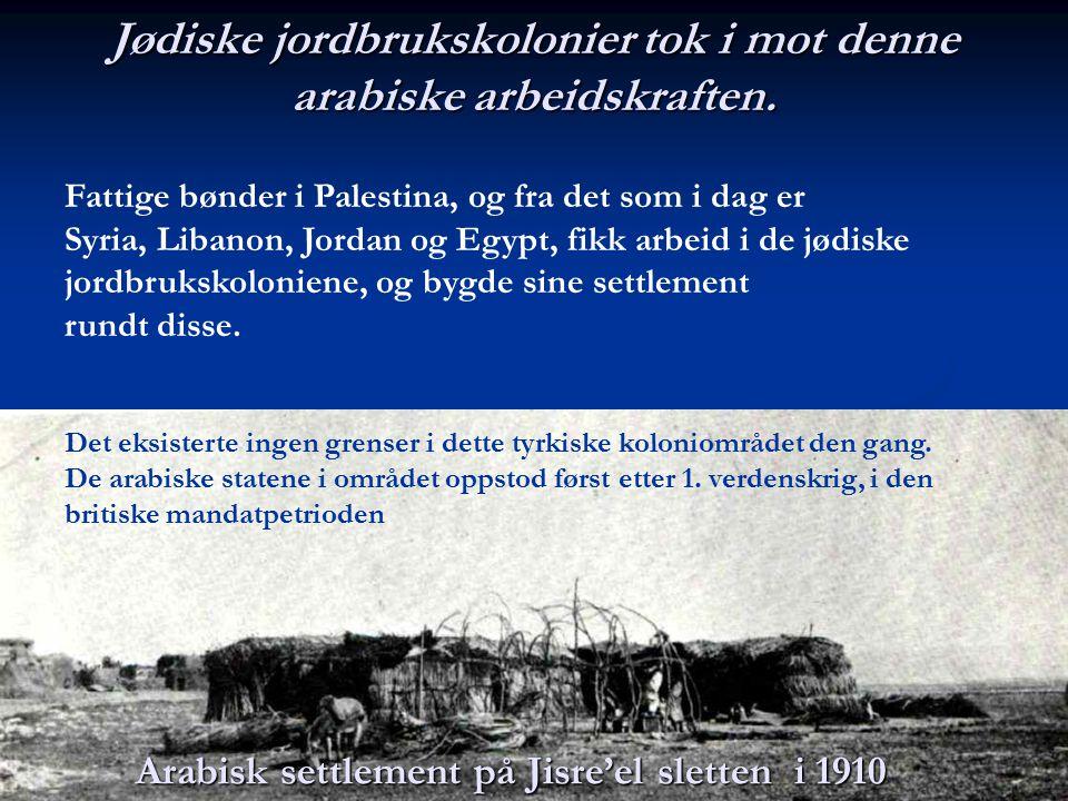 Jødiske jordbrukskolonier tok i mot denne arabiske arbeidskraften.