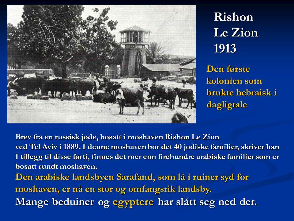 Rishon Le Zion 1913 Mange beduiner og egyptere har slått seg ned der.