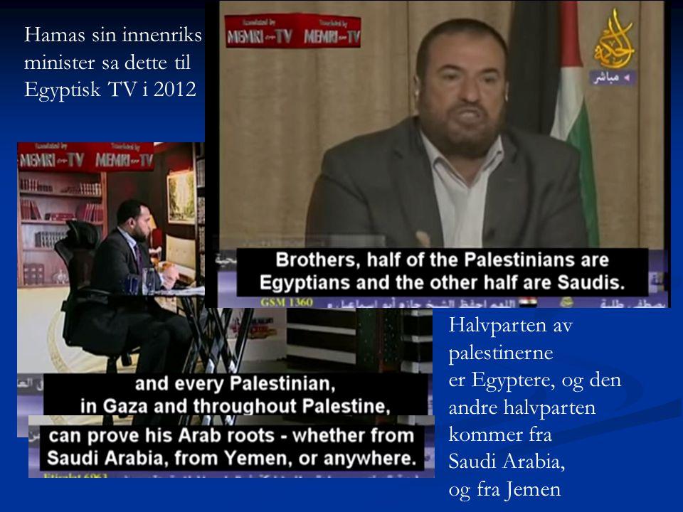 Hamas sin innenriks minister sa dette til. Egyptisk TV i 2012. Halvparten av. palestinerne. er Egyptere, og den.