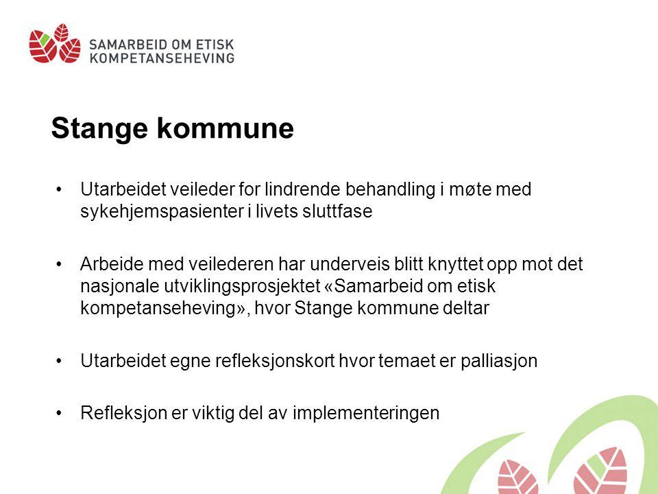 Stange kommune Utarbeidet veileder for lindrende behandling i møte med sykehjemspasienter i livets sluttfase.